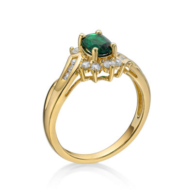 Lab-Created Emerald White Sapphire 14K Gold Over Silver Cocktail Ring