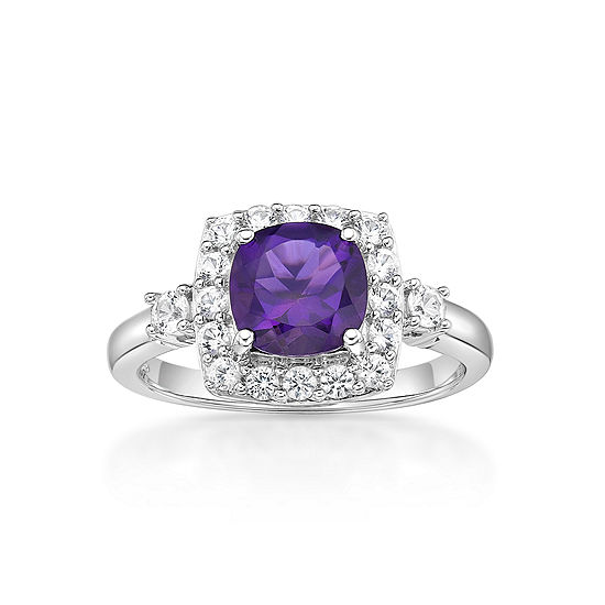 Womens Genuine Purple Amethyst Halo Cocktail Ring