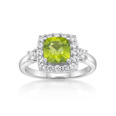 Womens Genuine Green Peridot Sterling Silver Halo Ring