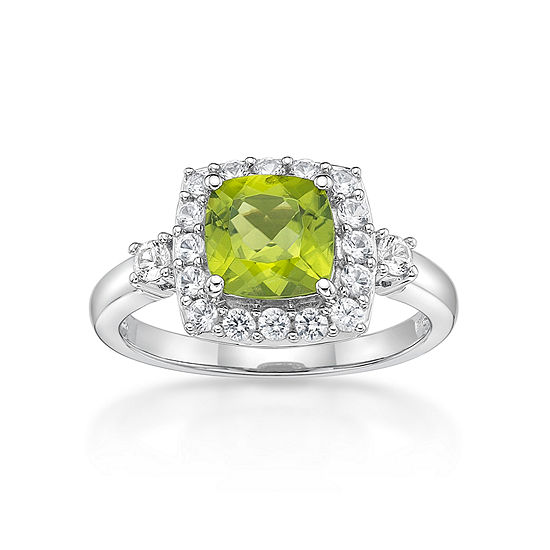 Womens Genuine Green Peridot Sterling Silver Halo Cocktail Ring