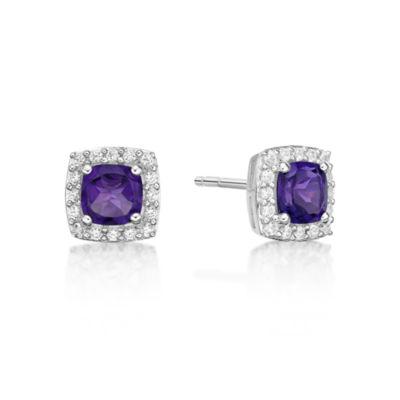 Genuine Purple Amethyst Sterling Silver 8mm Stud Earrings