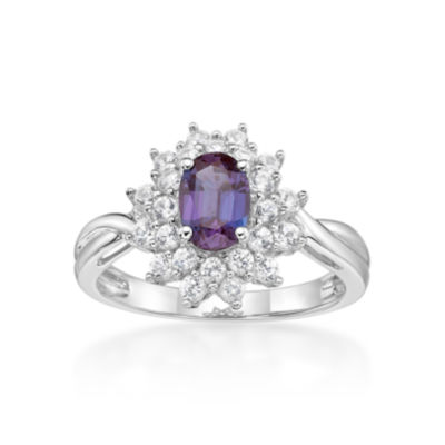 Womens Blue Alexandrite Sterling Silver Cocktail Ring