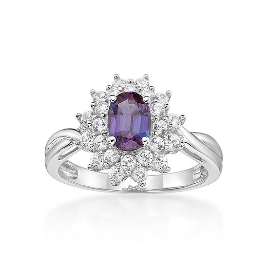 Womens Lab Created Blue Alexandrite Sterling Silver Cocktail Ring