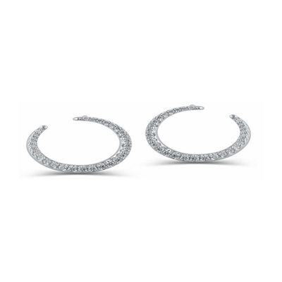 1/3 CT. T.W. White Diamond 14K White Gold 10.6mm Round Hoop Earrings