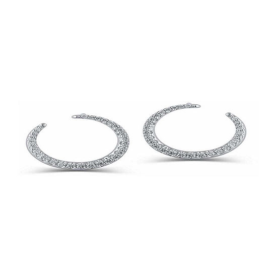 1/3 CT. T.W. Genuine White Diamond 14K White Gold 10.6mm Round Hoop Earrings