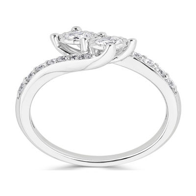 Womens 2.5mm 3/4 CT. T.W. White Diamond 14K White Gold Round Crossover Ring