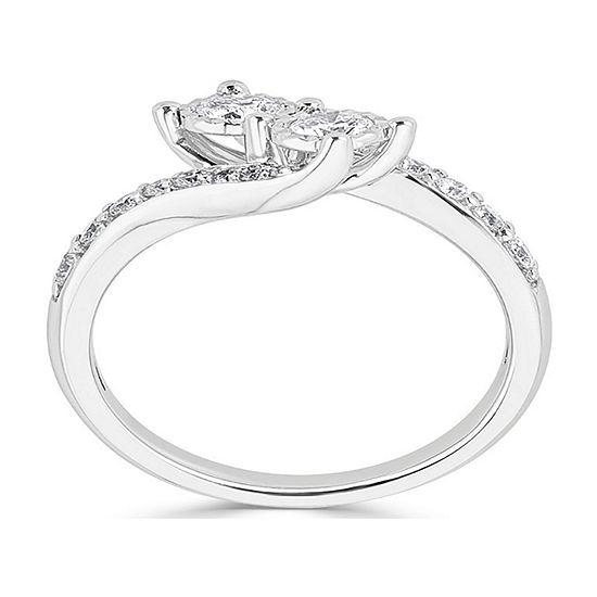 Womens 2.5MM 3/4 CT. T.W. Genuine White Diamond 14K White Gold Round Crossover Band