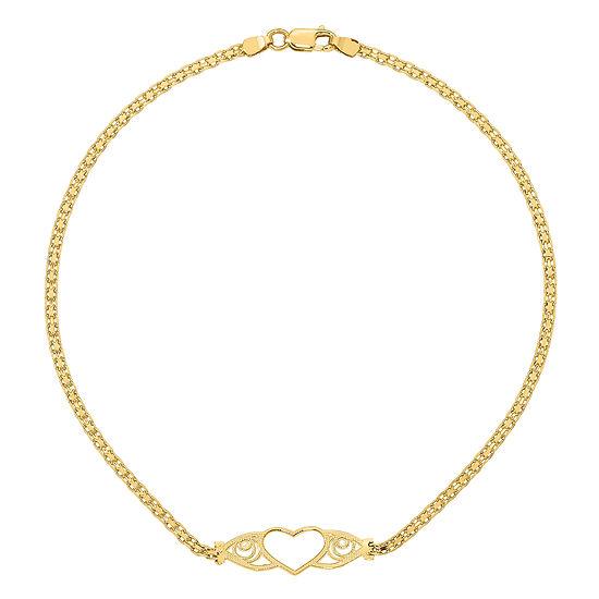 14K Gold 10 Inch Heart Ankle Bracelet