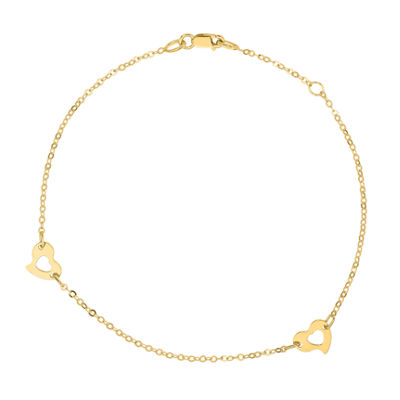 Made in Italy 14K Gold 10 Inch Heart Ankle Bracelet