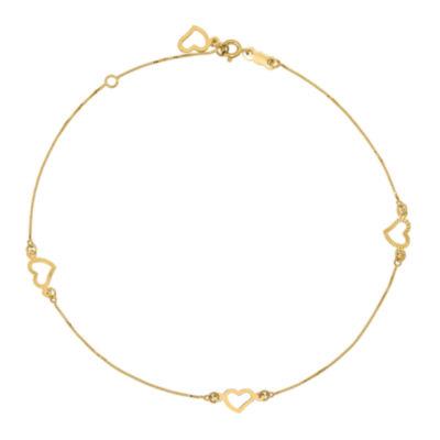 14K Gold 9 Inch Solid Heart Ankle Bracelet