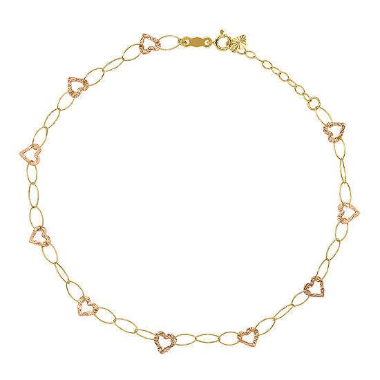 14K Two Tone Gold 9 Inch Hollow Heart Ankle Bracelet