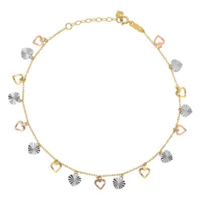 14K Tri-Color Gold 9 Inch Solid Heart Ankle Bracelet