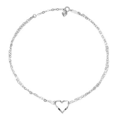 14K White Gold 9 Inch Solid Heart Ankle Bracelet