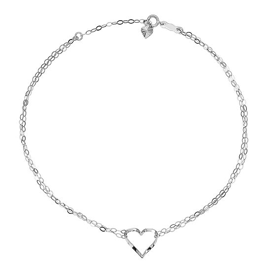 14K White Gold 9 Inch Solid Heart Ankle Bracelet