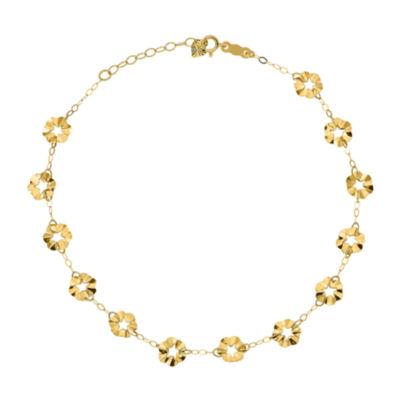 14K Gold 9 Inch Solid Flower Ankle Bracelet