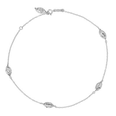 14K White Gold 9 Inch Solid Bead Ankle Bracelet