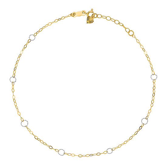 14k Two Tone Gold 9 Inch Solid Round Ankle Bracelet