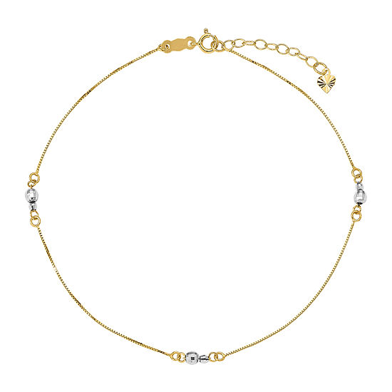 14K Two Tone Gold 9 Inch Solid Bead Ankle Bracelet