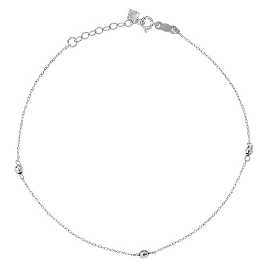 14K White Gold 9 Inch Solid Bead Ankle Bracelet