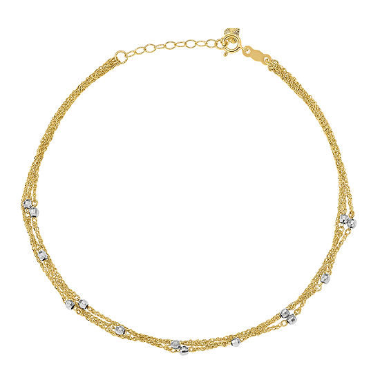 14K Two Tone Gold 9 Inch Solid Ankle Bracelet