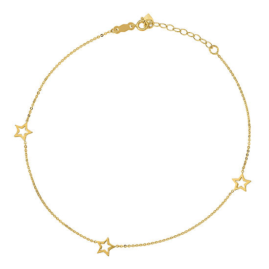 14K Gold 9 Inch Solid Star Ankle Bracelet