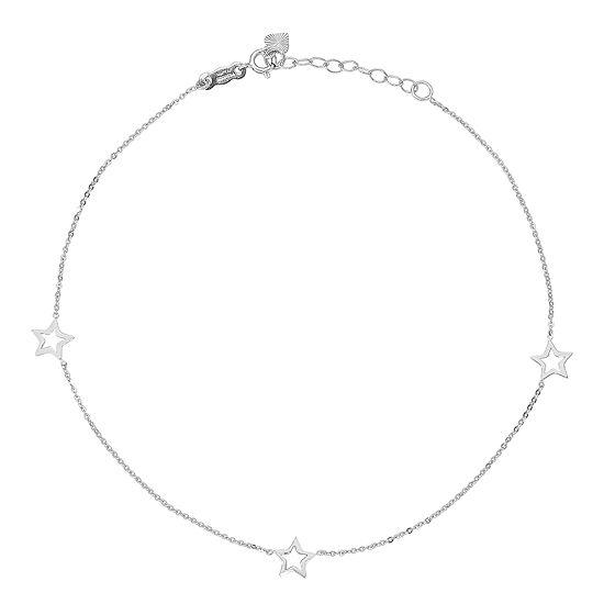 14K White Gold 9 Inch Solid Star Ankle Bracelet