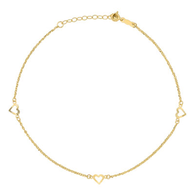 14K Gold 10 Inch Solid Heart Ankle Bracelet