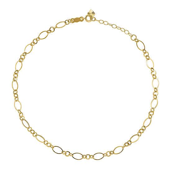 14K Gold 10 Inch Hollow Ankle Bracelet