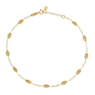 14K Gold 10 Inch Solid Bead Ankle Bracelet