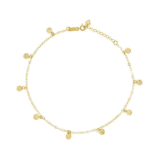 14K Two Tone Gold 10 Inch Hollow Round Ankle Bracelet