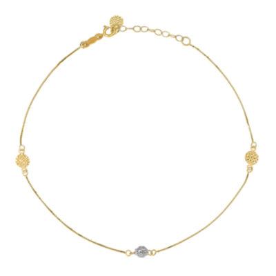 14K Gold 10 Inch Solid Round Ankle Bracelet