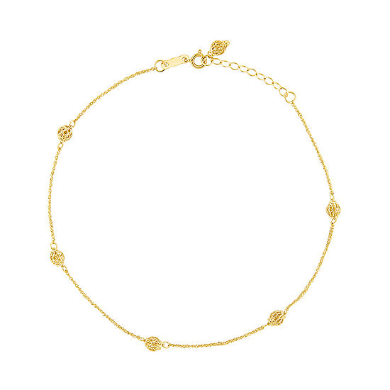 14K Two Tone Gold 10 Inch Solid Bead Ankle Bracelet
