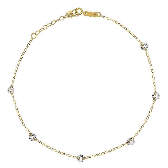 14K Gold 9 Inch Solid Oval Ankle Bracelet
