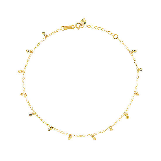 14K Two Tone Gold 9 Inch Solid Oval Ankle Bracelet