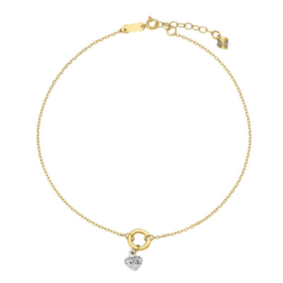 14K Two Tone Gold 9 Inch Solid Heart Ankle Bracelet