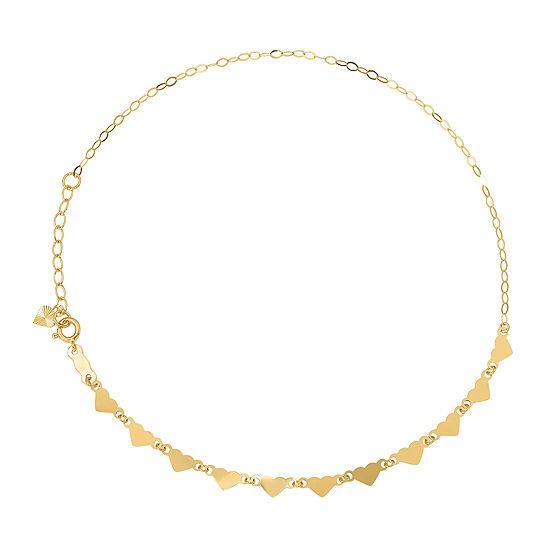 14K Gold 9 Inch Solid Link Heart Ankle Bracelet