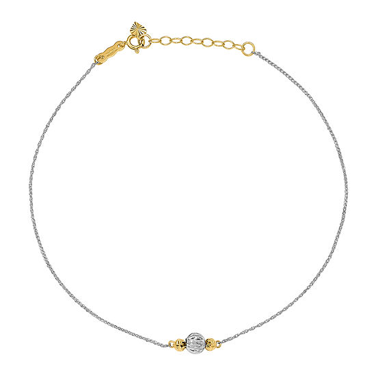 14K Two Tone Gold 9 Inch Solid Rope Ankle Bracelet