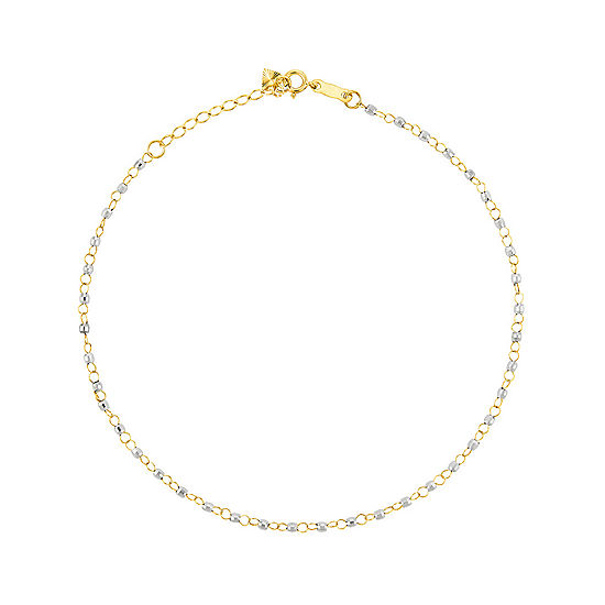 14K Two Tone Gold 9 Inch Solid Bead Round Ankle Bracelet
