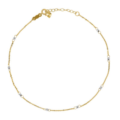 14K Two Tone Gold 9 Inch Solid Cable Ankle Bracelet