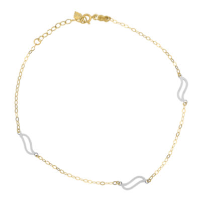 14K Tri-Color Gold 10 Inch Solid Link Ankle Bracelet