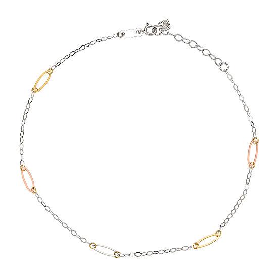 14K Tri-Color Gold 9 Inch Solid Link Ankle Bracelet