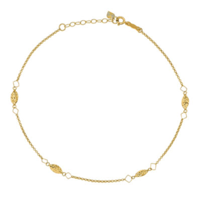 14K Gold 9 Inch Solid Bead Round Ankle Bracelet