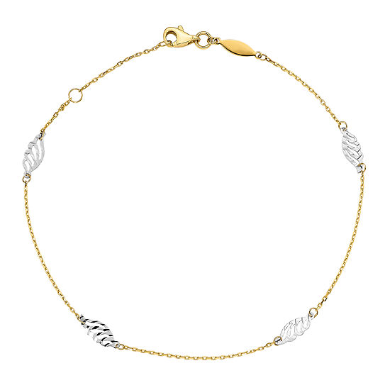 14K Two Tone Gold 10 Inch Semisolid Ankle Bracelet