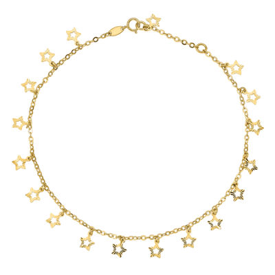 14K Gold 10 Inch Semisolid Cable Star Ankle Bracelet