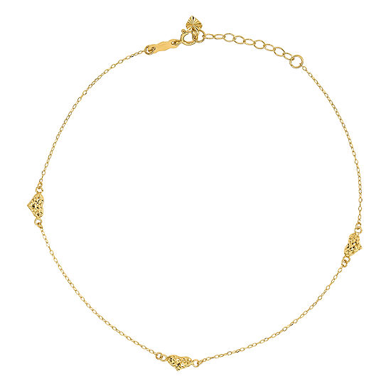 14K Gold 9 Inch Solid Cable Heart Ankle Bracelet
