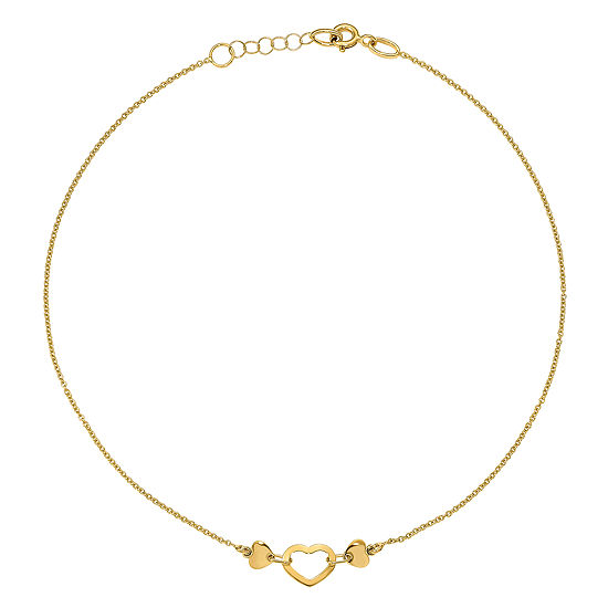 Made In Italy 14k Gold 10 Inch Solid Cable Heart Ankle Bracelet