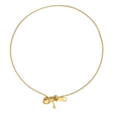 14K Gold 10 Inch Semisolid Cable Heart Ankle Bracelet