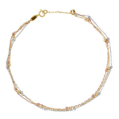 14K Tri-Color Gold 10 Inch Semisolid Cable Ankle Bracelet