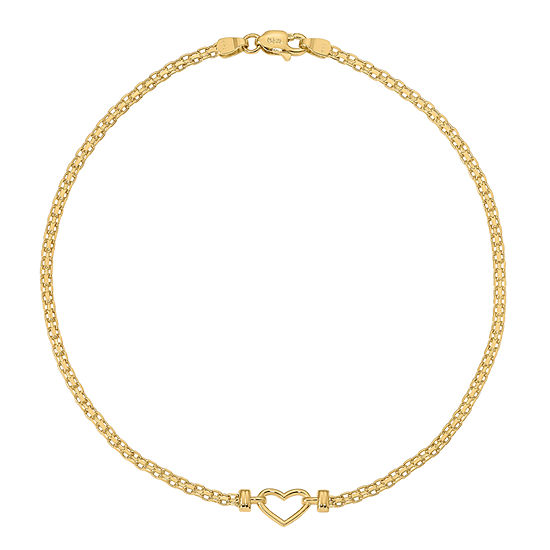 14K Gold 10 Inch Solid Heart Ankle Bracelet