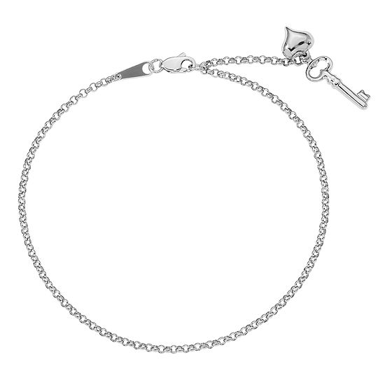 14K White Gold 10 Inch Semisolid Heart Ankle Bracelet